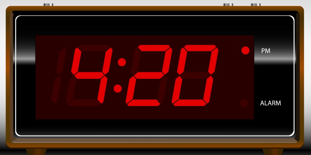 Clock showing the time 4:20 PM