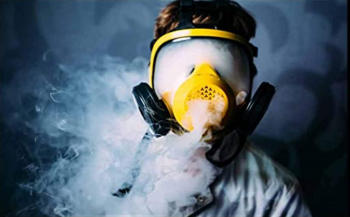smoking weed with gas mask